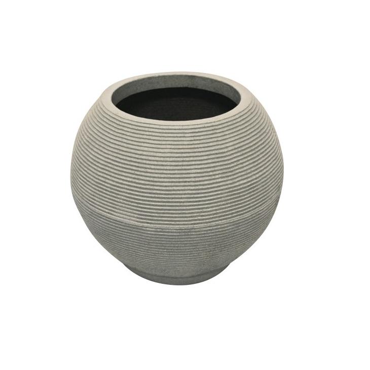 Vaso de Polietileno Bola Riscato 40cm Branco Mármore