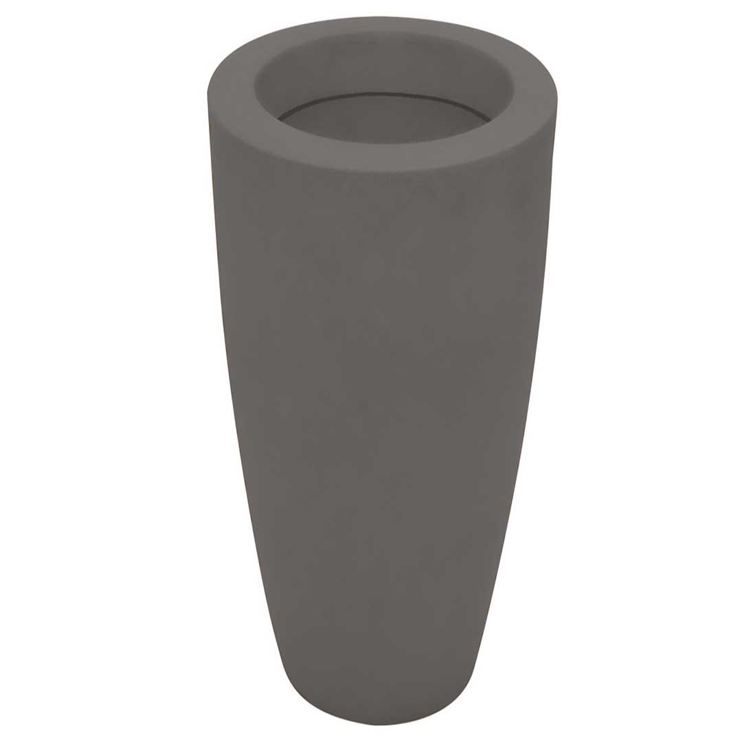 Vaso de Polietileno Fosco 50cm Cinza