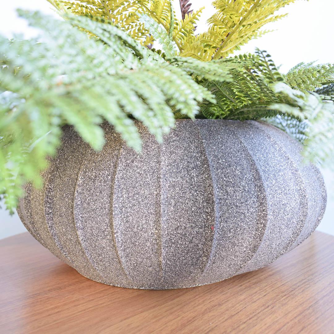 Vaso de Polietileno Oval 18cm Cinza Escuro -  Coleção Hanazaki