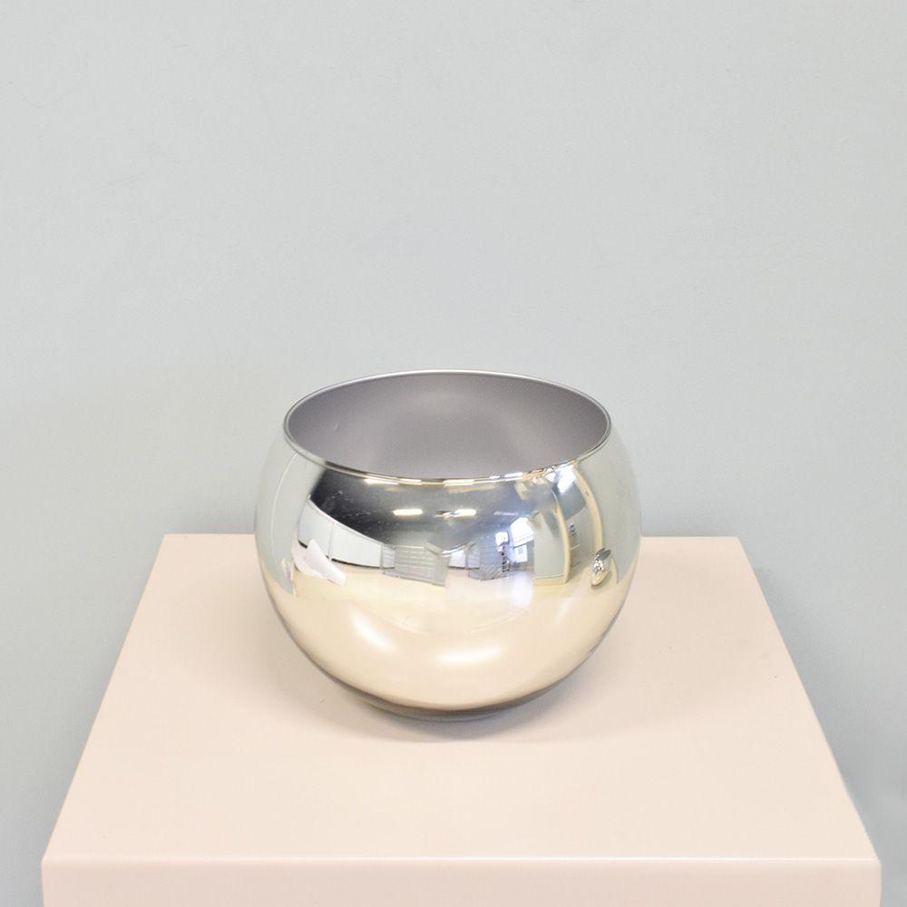Vaso de Flores Prateado Redondo 17cm | Linha Vasos Decorativos Formosinha
