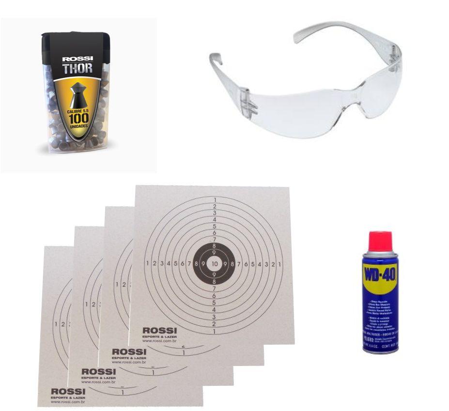 Carabina de Pressão Rossi Dione Tradicional 5,5mm c/ Luneta 4x20 + Bandoleira + Capa + Chumbinho + Óculos de Proteção + Alvos de Papel + Lubrificante