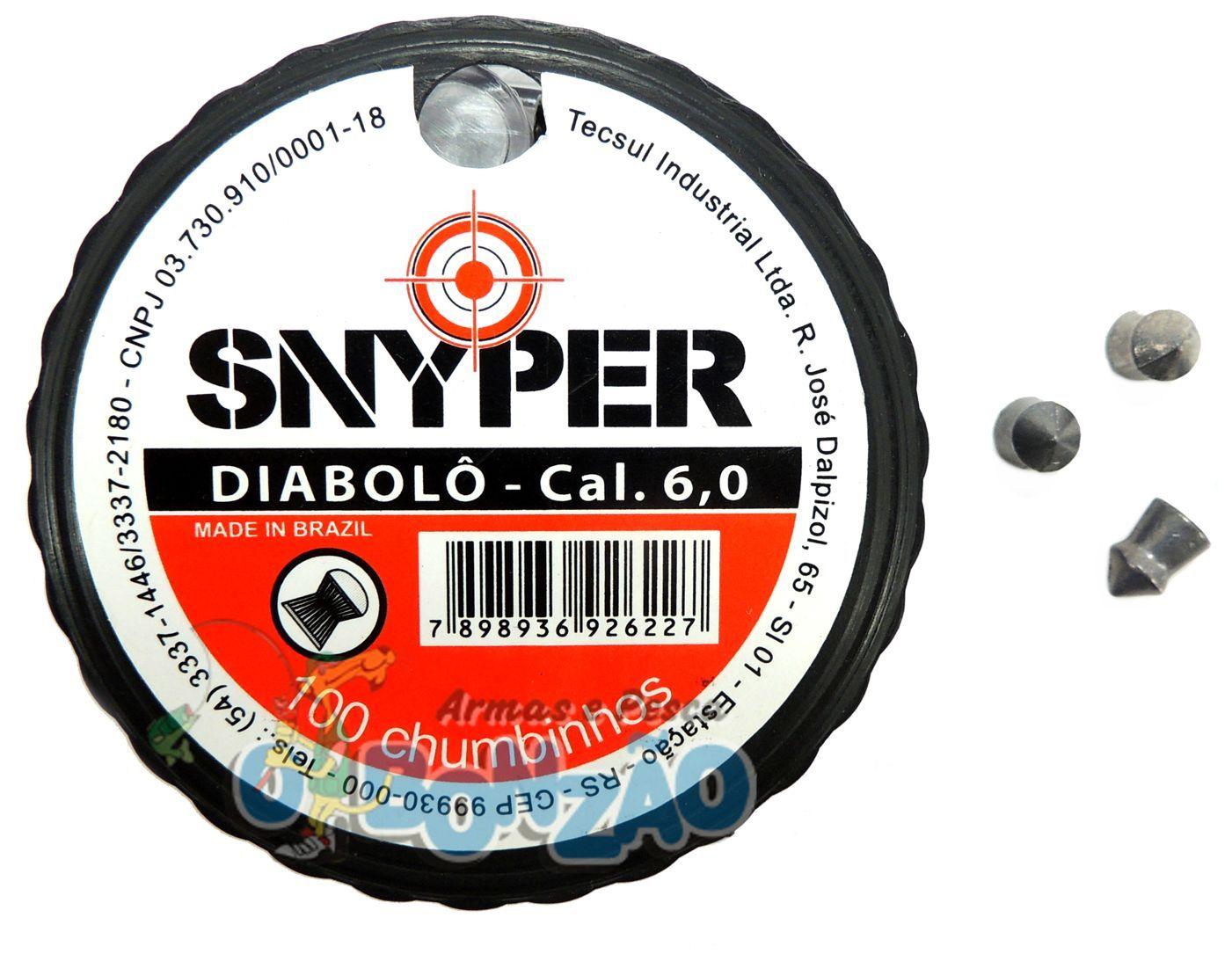 Chumbinho Snyper Diabolô Cal. 6,0mm - 100 unidades