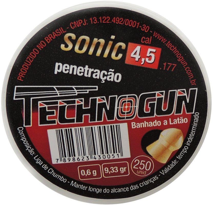 Chumbinho Technogun Sonic Penetração 4,5mm - 250 unidades Banhado a Latão