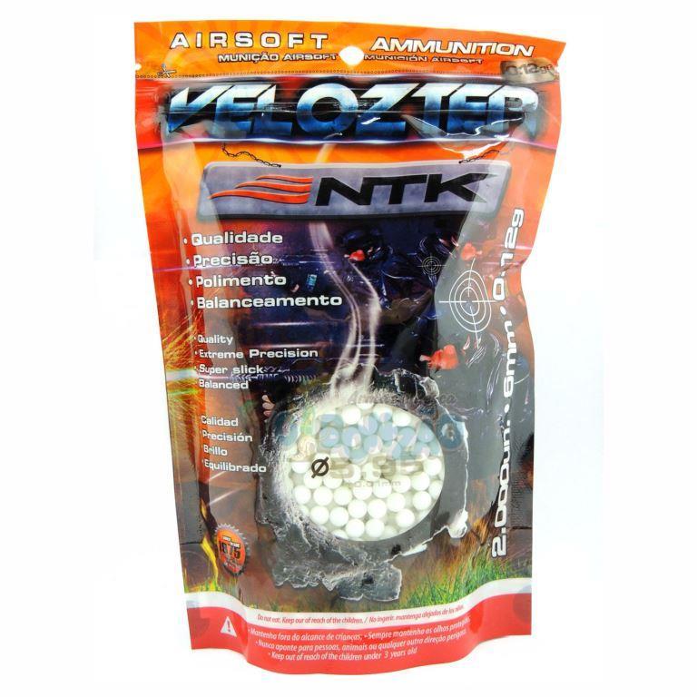 Esferas Plásticas Airsoft Velozter BBs 0.12g NTK - Branca 2000un