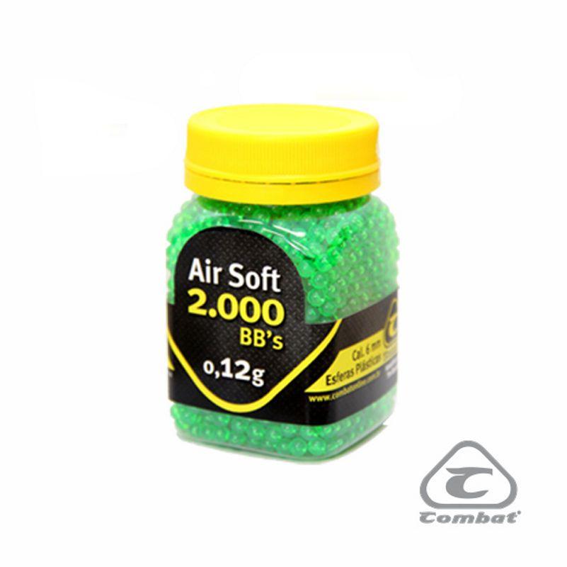 Esferas Plásticas Bbs Munição Para Airsoft Calibre 6mm 0.12g 2000un Combat Verde