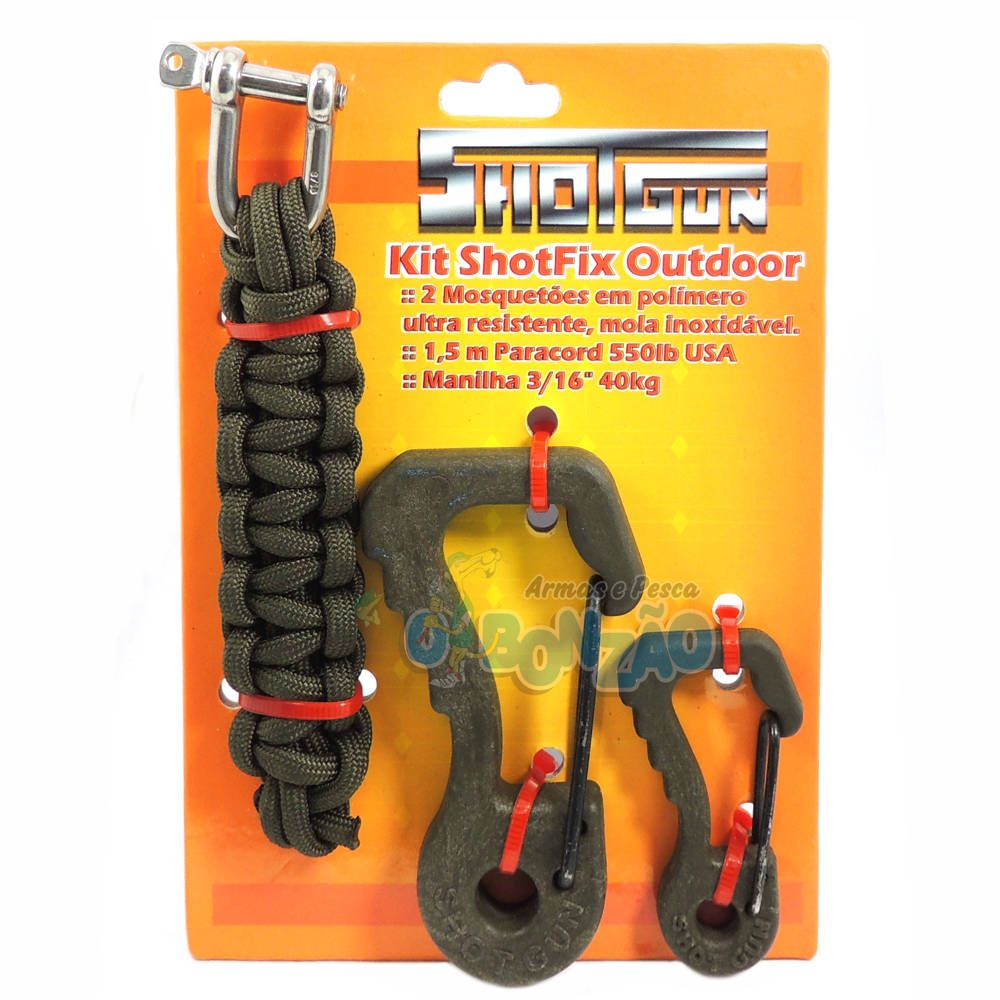 Kit Shotfix Outdoor Shotgun - Mosquetão Polímero / Paracord 550 / Manilha - Verde Militar