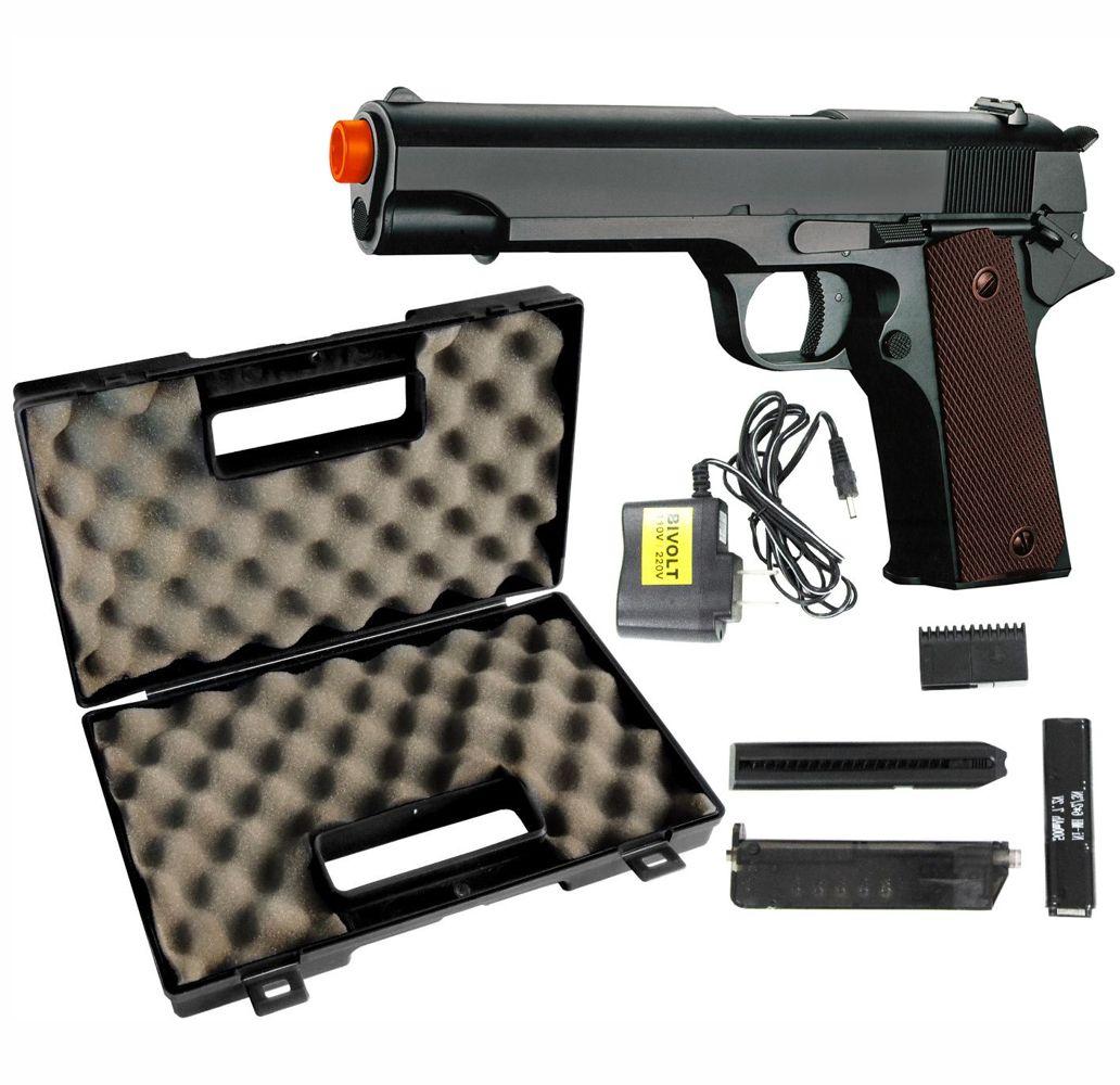 Pistola Airsoft Colt 1911 CM123 Cyma Slide Metal Elétrica + Maleta Rígida Rossi
