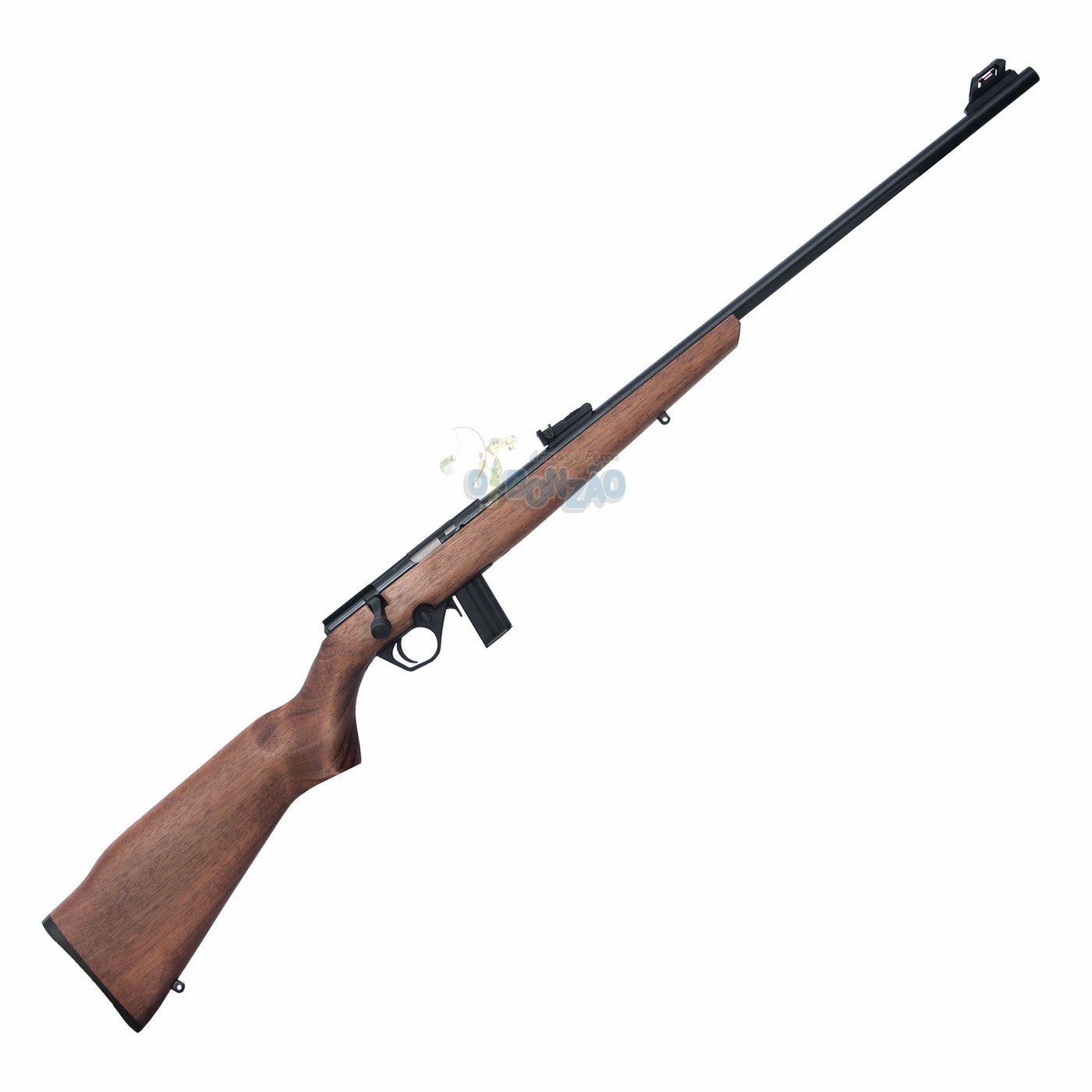 """Rifle CBC 8122 Bolt Action Cal. 22LR ? 10 Tiros - Cano 23"""" - Coronha em Madeira - Oxidado"""