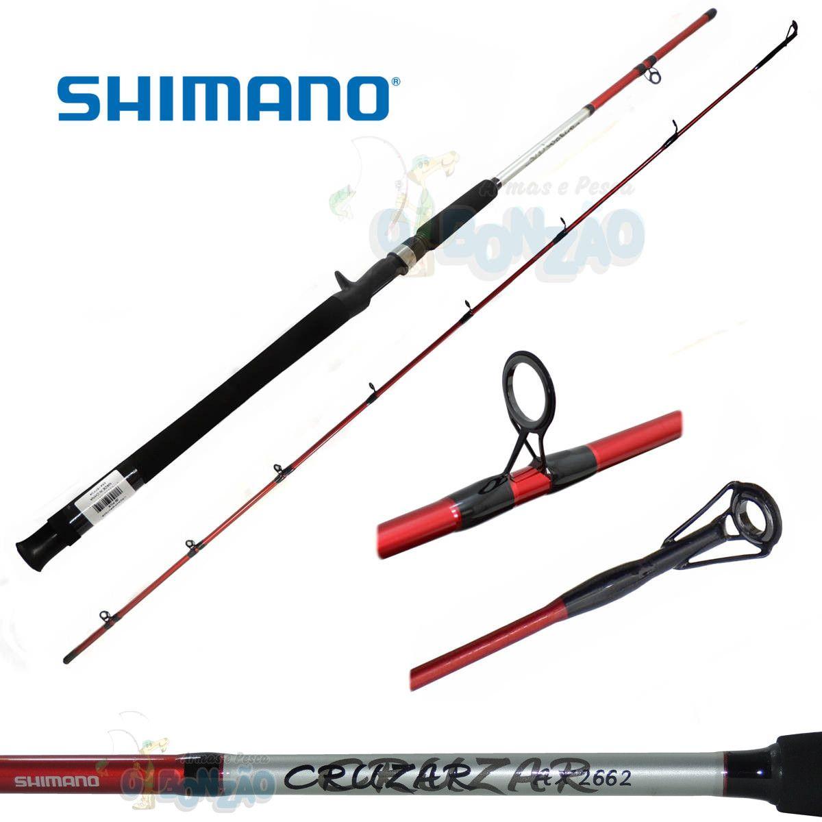 """Vara Shimano Cruzar AX 2662 Red - 10-20lb - 6`6"""" (1,98m) - Carretilha 2 Partes"""