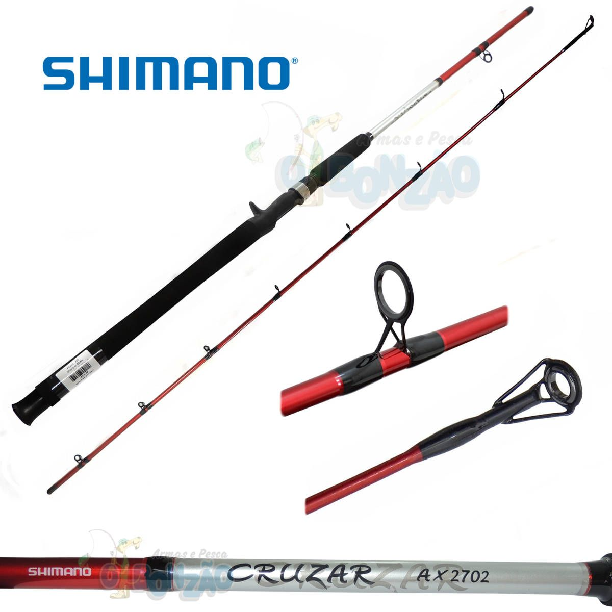 Vara Shimano Cruzar AX 2702 Red - 10-20lb - 2,10m - Carretilha 2 Partes
