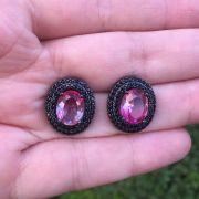 Brinco oval ródio negro e rosa