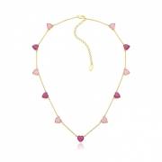 Colar corações em cristais rosa claro e roxo