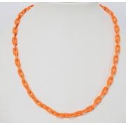 Colar elos ovais esmaltado laranja neon