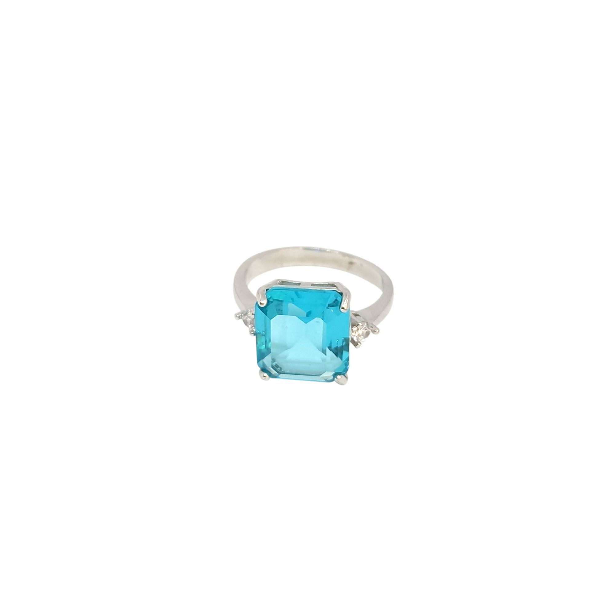 Anel retangular cristal azul ródio