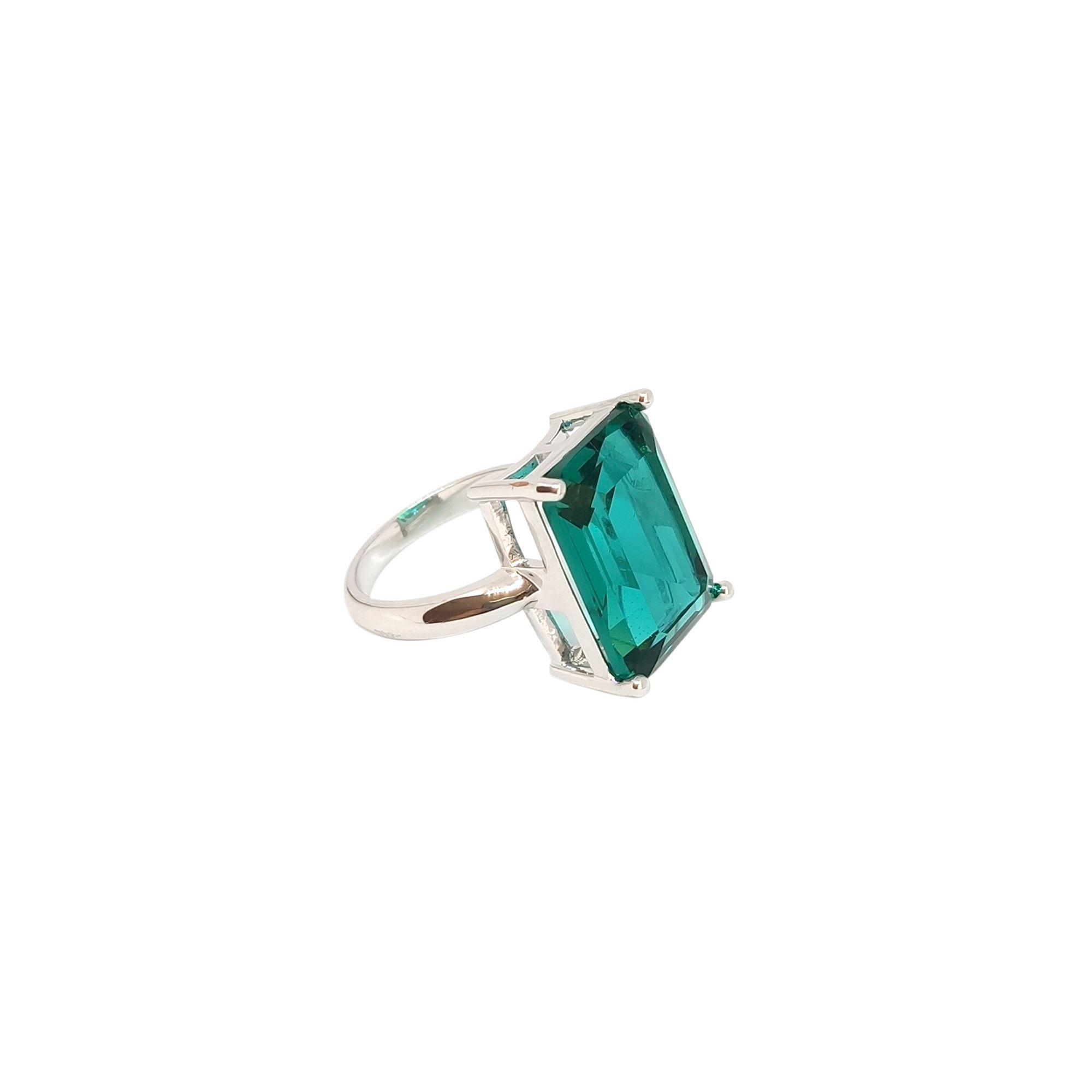 Anel retangular Pedra Cristal Turmalina