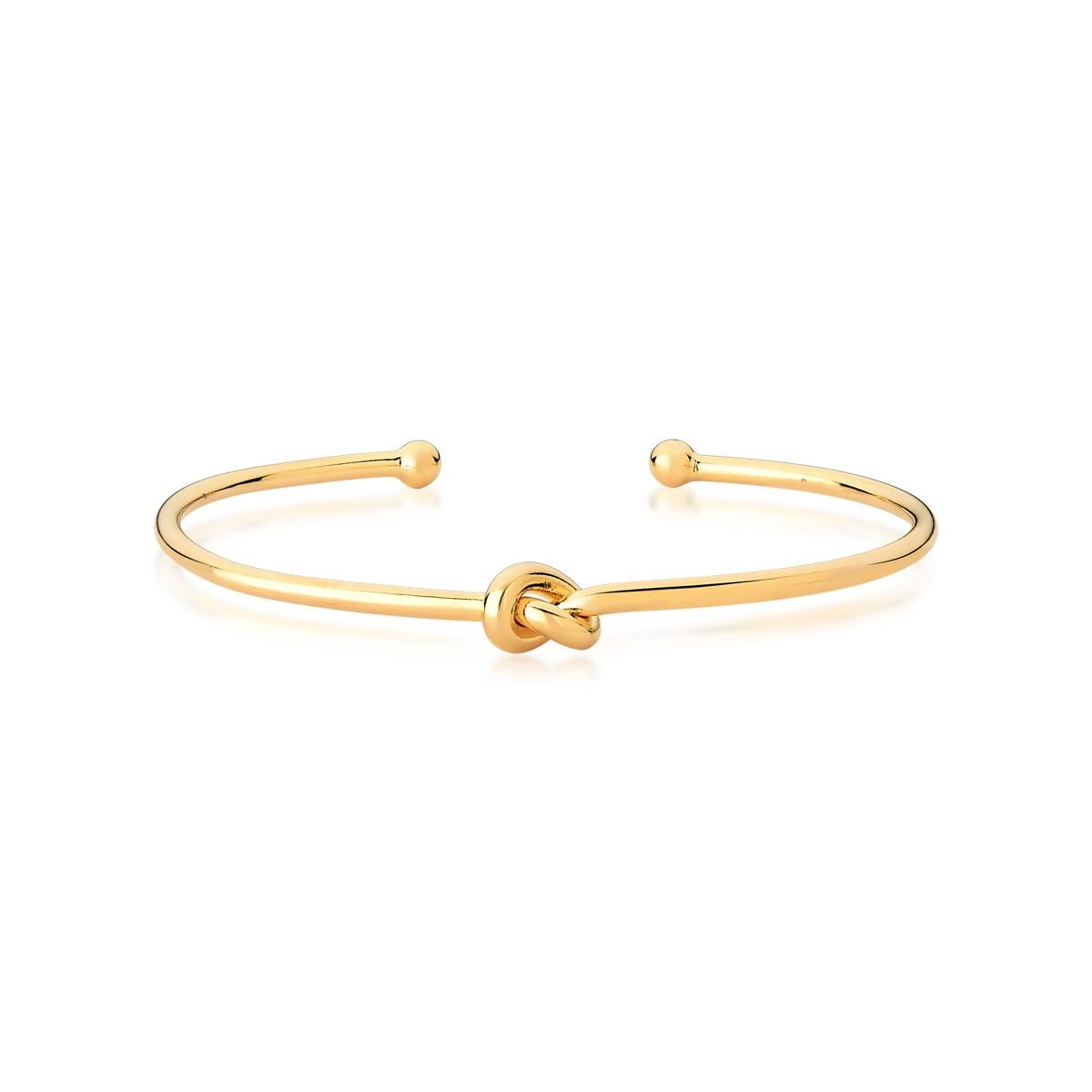 Bracelete Aberto com Nó Liso Banhado a Ouro