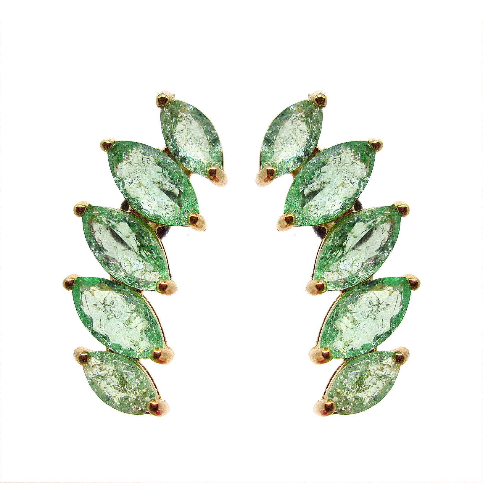 Brinco banhado a ouro ear cuff turmalina verde fusion