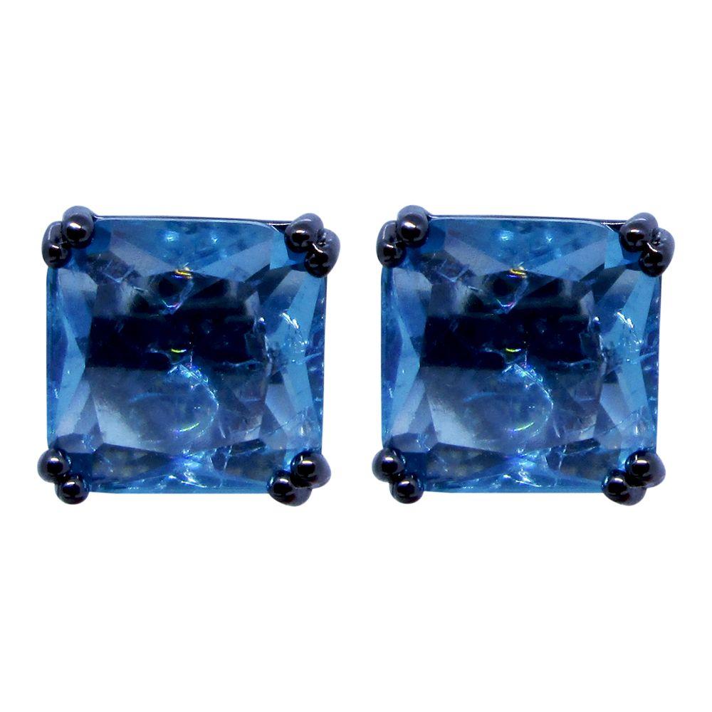 Brinco quadrado banhado a ródio negro com pedra cristal azul fusion