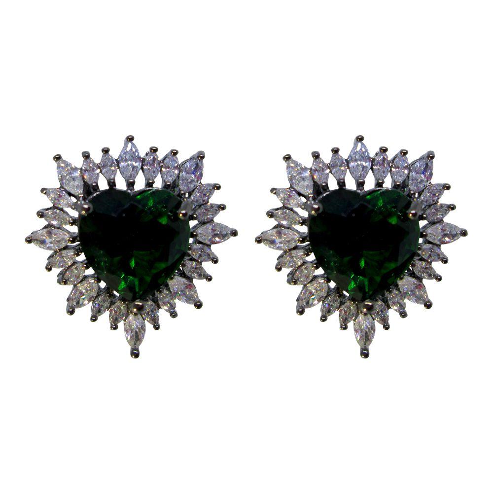 Brinco coração banhado a ródio negro com pedra cristal verde e navetes