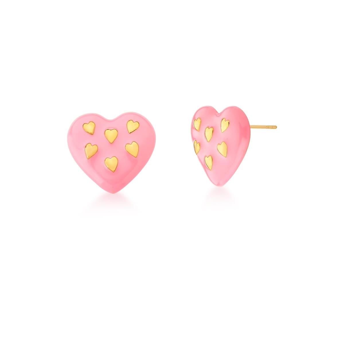 Brinco coração rosa esmaltado