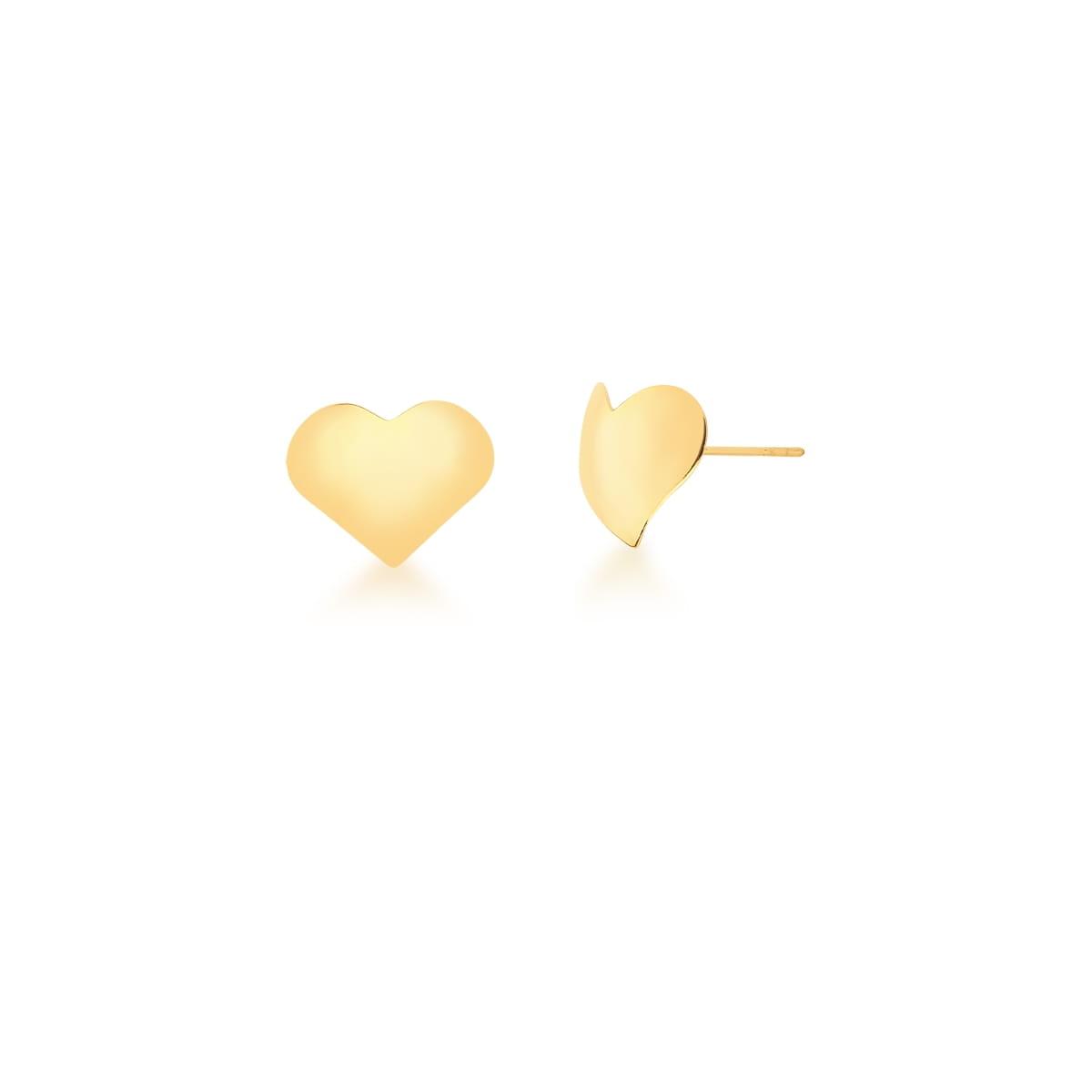 Brinco formato coração banhado a ouro