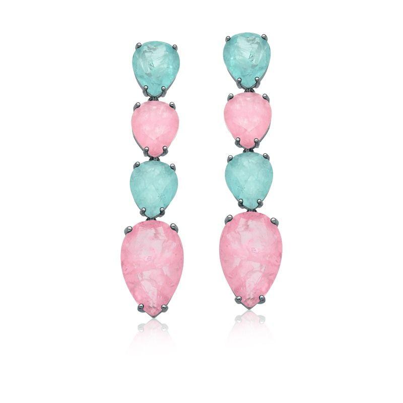 Brinco longo gotas invertidas azul Niágara e rosa