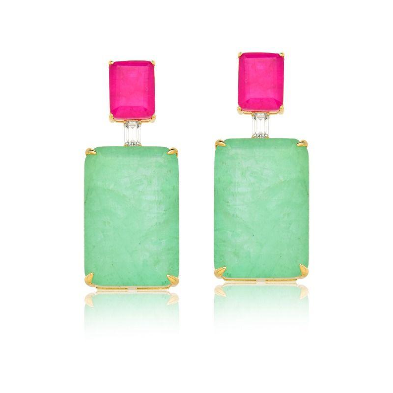 Brinco Maxi Retângulo pink e greenery