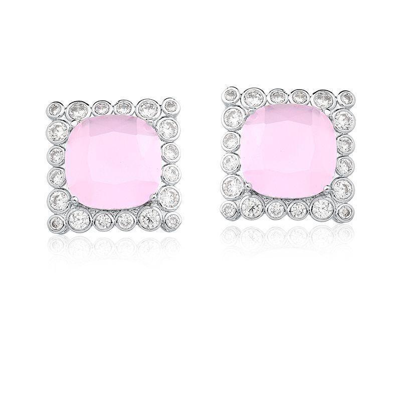 Brinco quadrado rosa claro leitoso