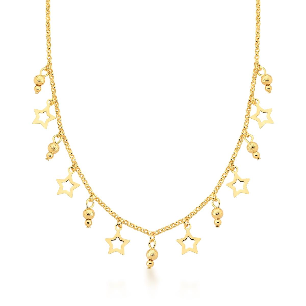 Choker com estrelas e bolinhas banhada a ouro
