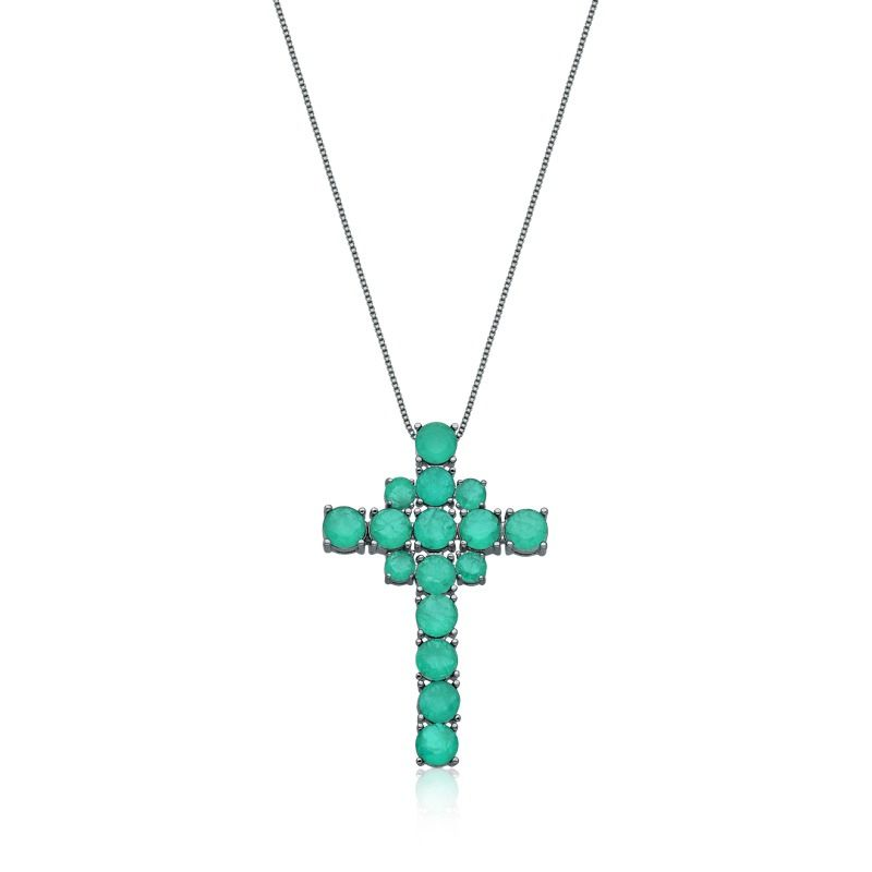 Colar crucifixo turmalina verde