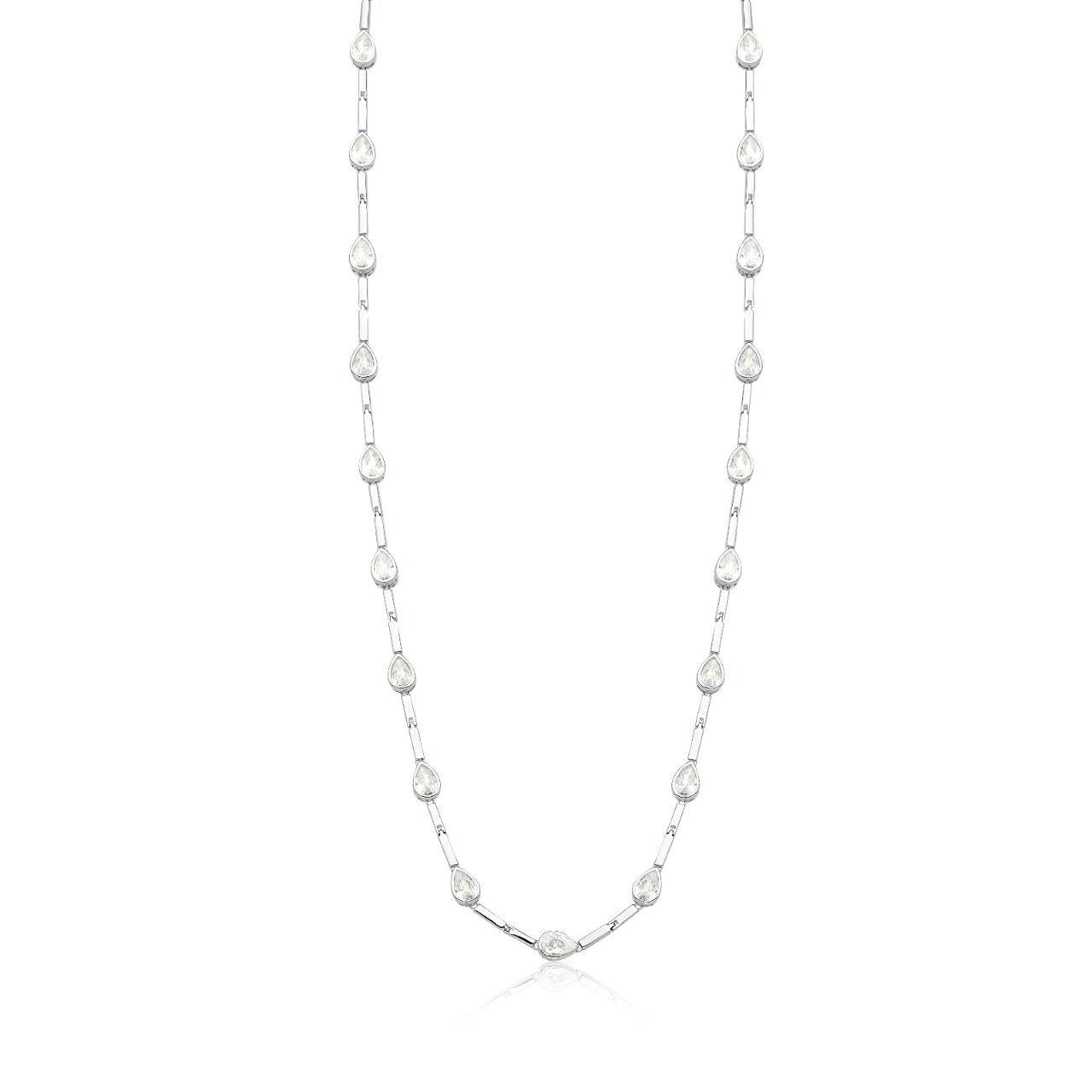 Colar longo gotas luxo ródio branco