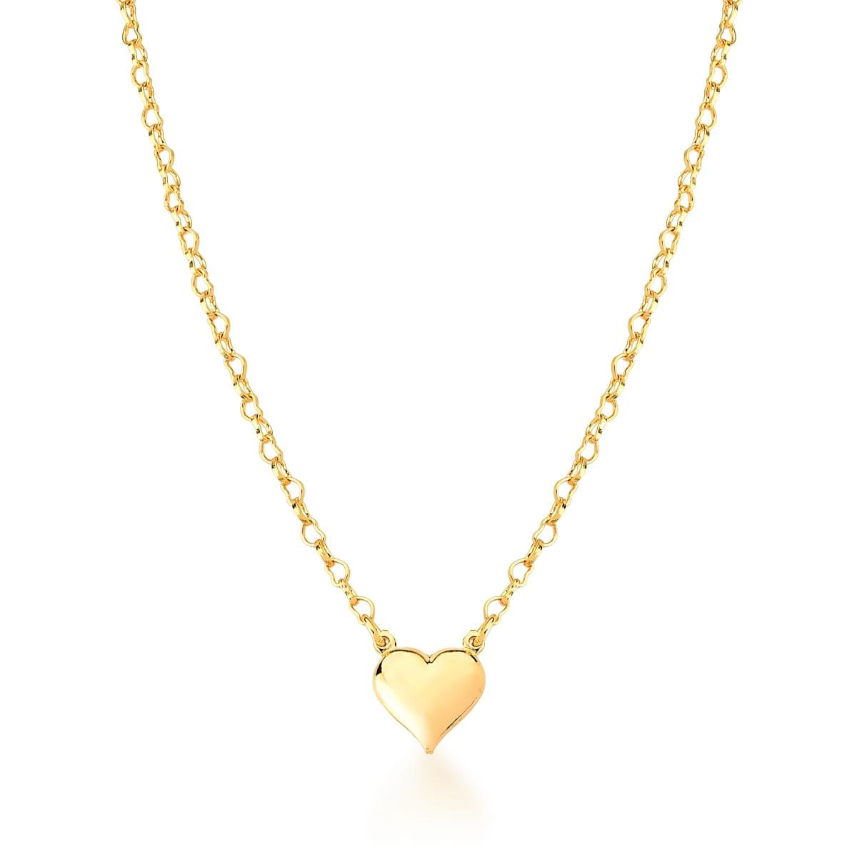 Colar pingente coração banhado a ouro