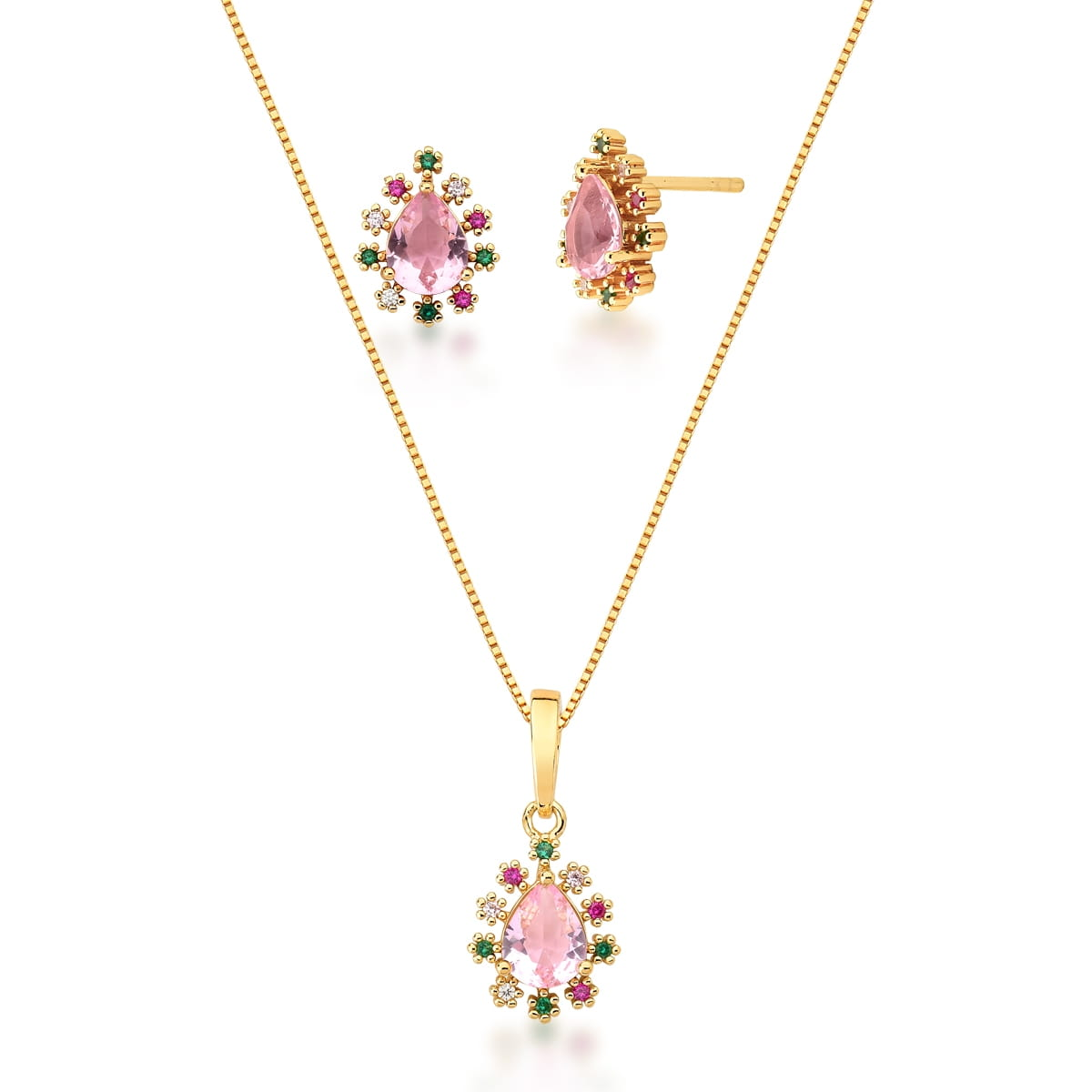 Conjunto de gota cristal rosa e zircônias coloridas