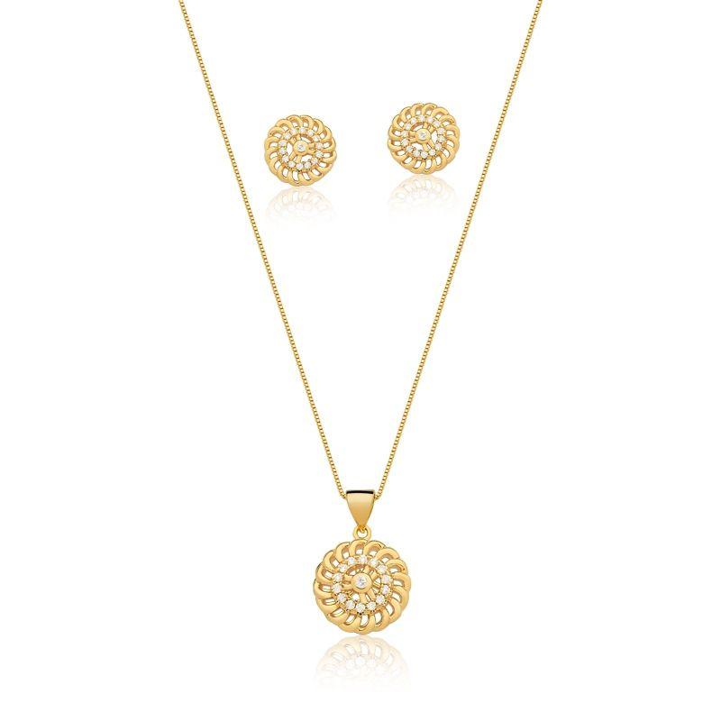 Conjunto redondo banhado a ouro com detalhes em zircônia