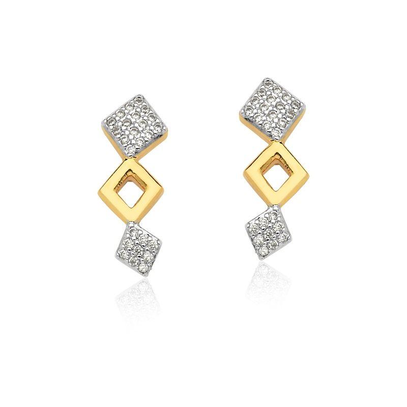 Ear cuff losangos banhado a ouro com zircônias