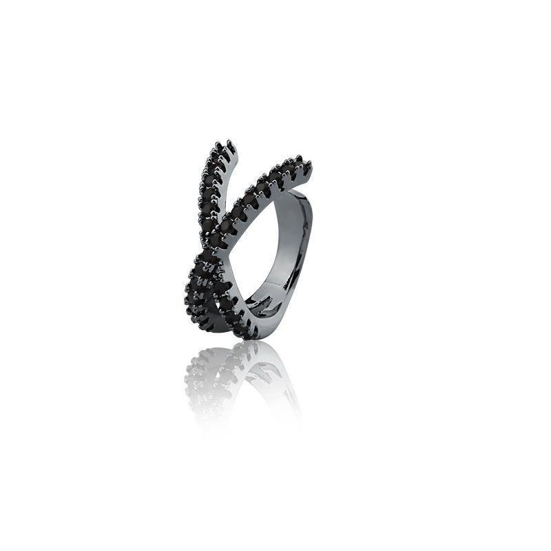 Piercing formato X ródio negro