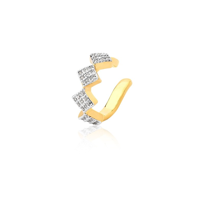 Piercing losangos banhado a ouro com zirconias