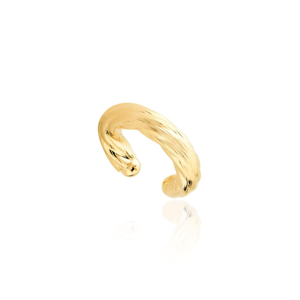 Piercing trançado folheado a ouro