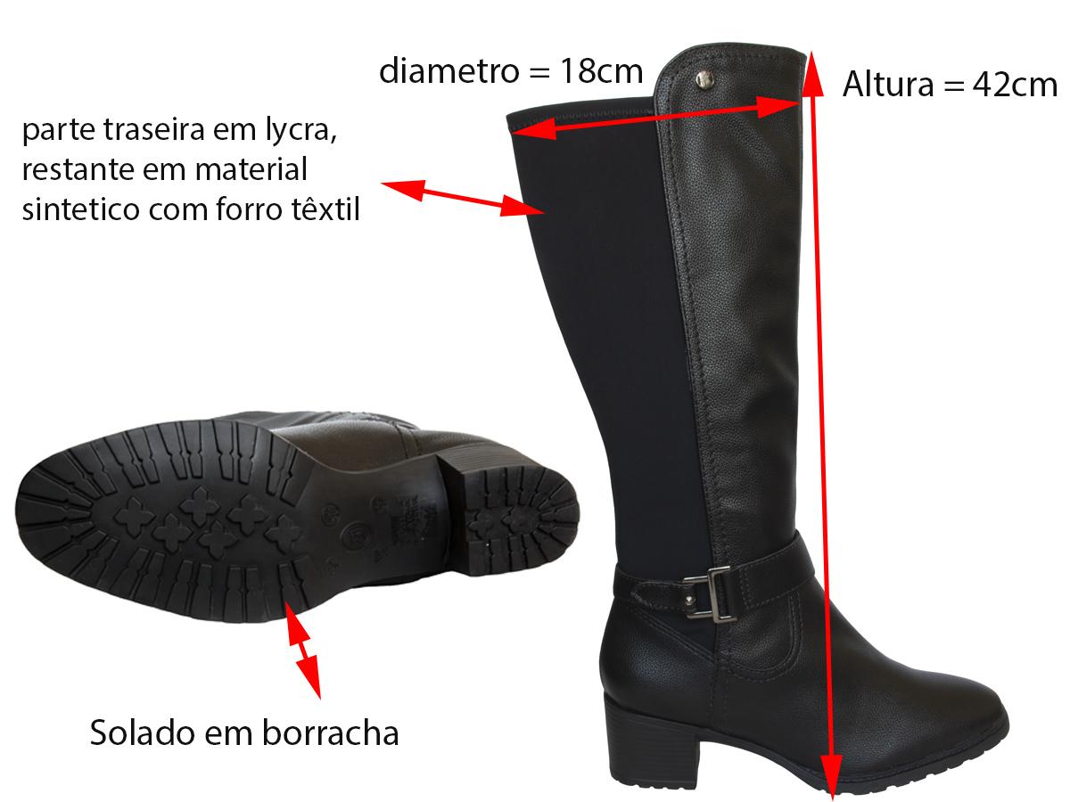 Bota Cano Alto Bottero 326904 sint/lycra Feminino