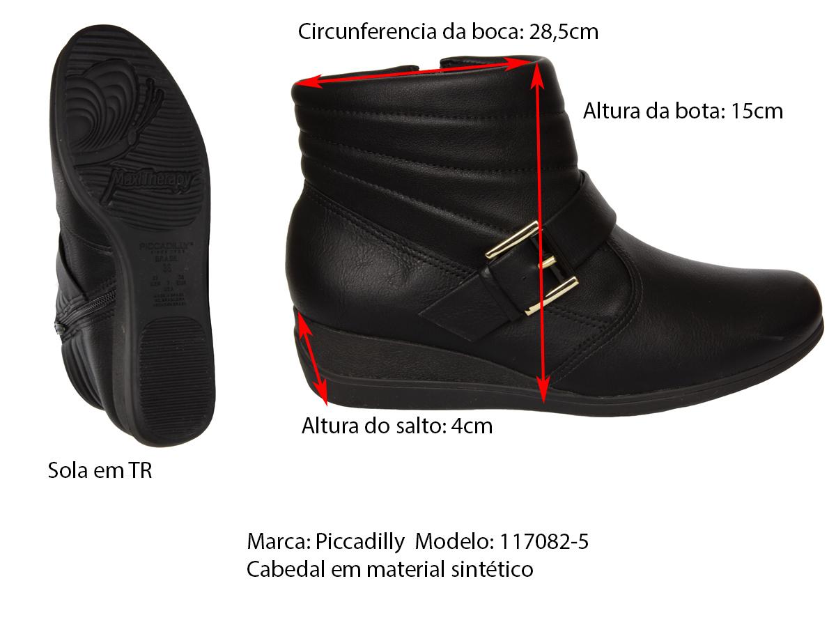 Bota Cano Curto Anabela Piccadilly 117082-5 Maxi Feminino