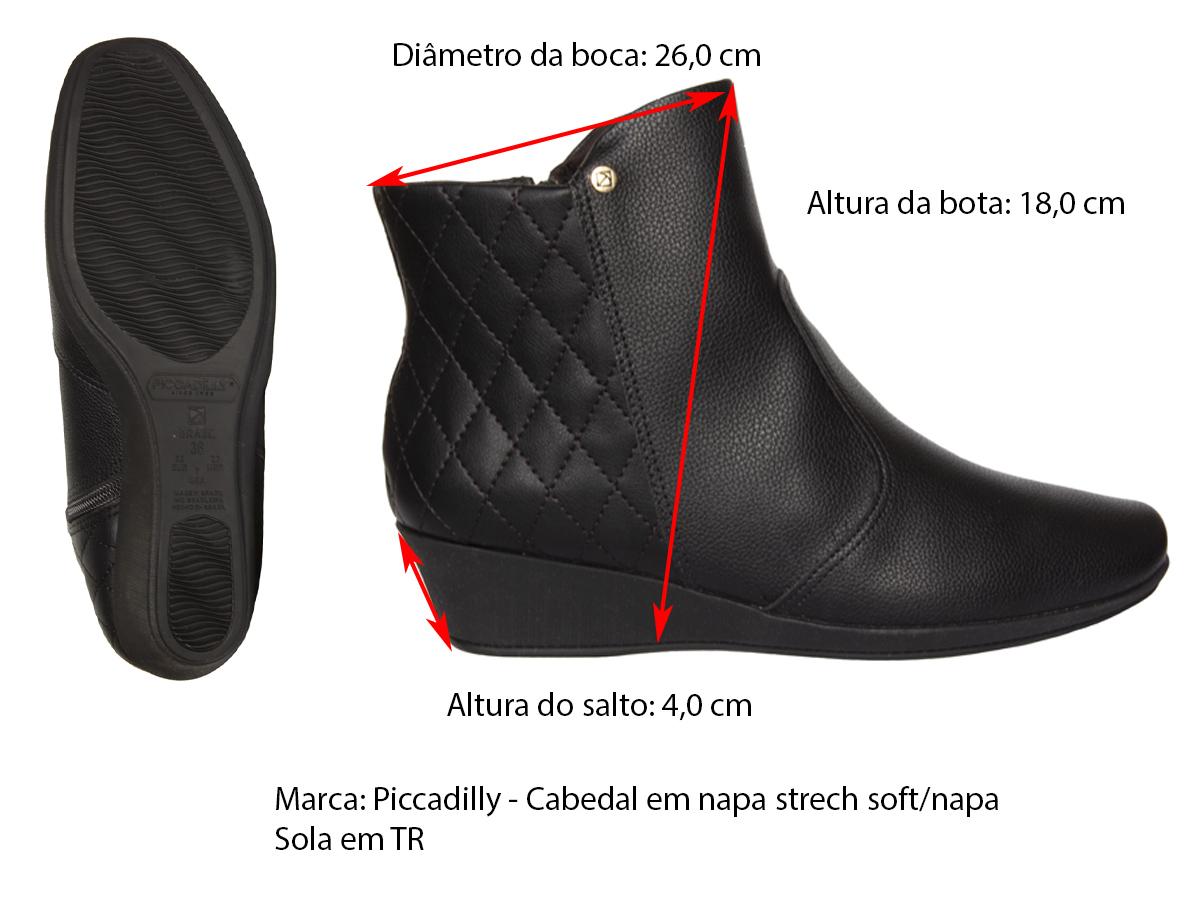 Bota Cano Curto Piccadilly 143158-4 Feminino