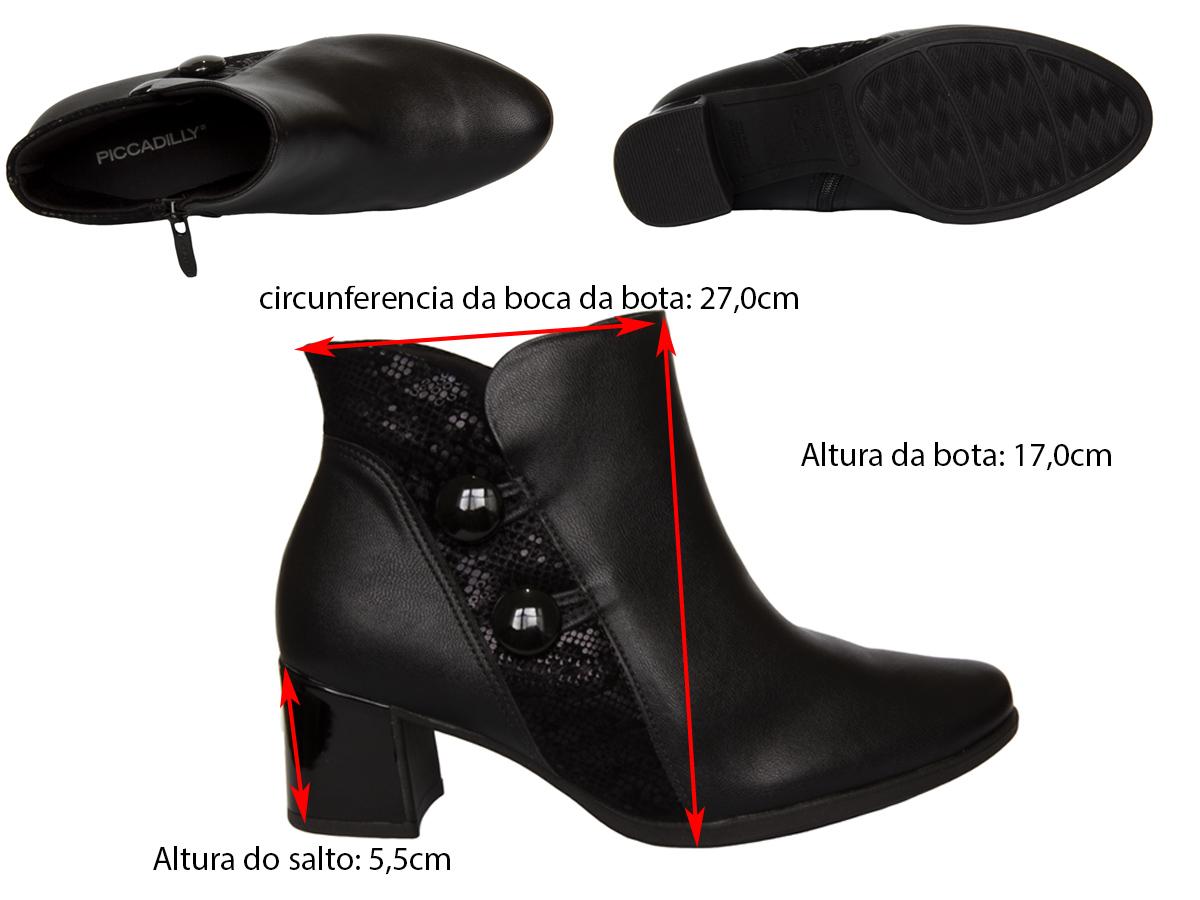 Bota Cano Curto Piccadilly 654004-4 Feminino