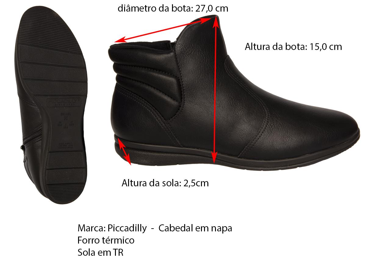 Bota Cano Curto Rasteira Piccadilly 261006-5 Feminino