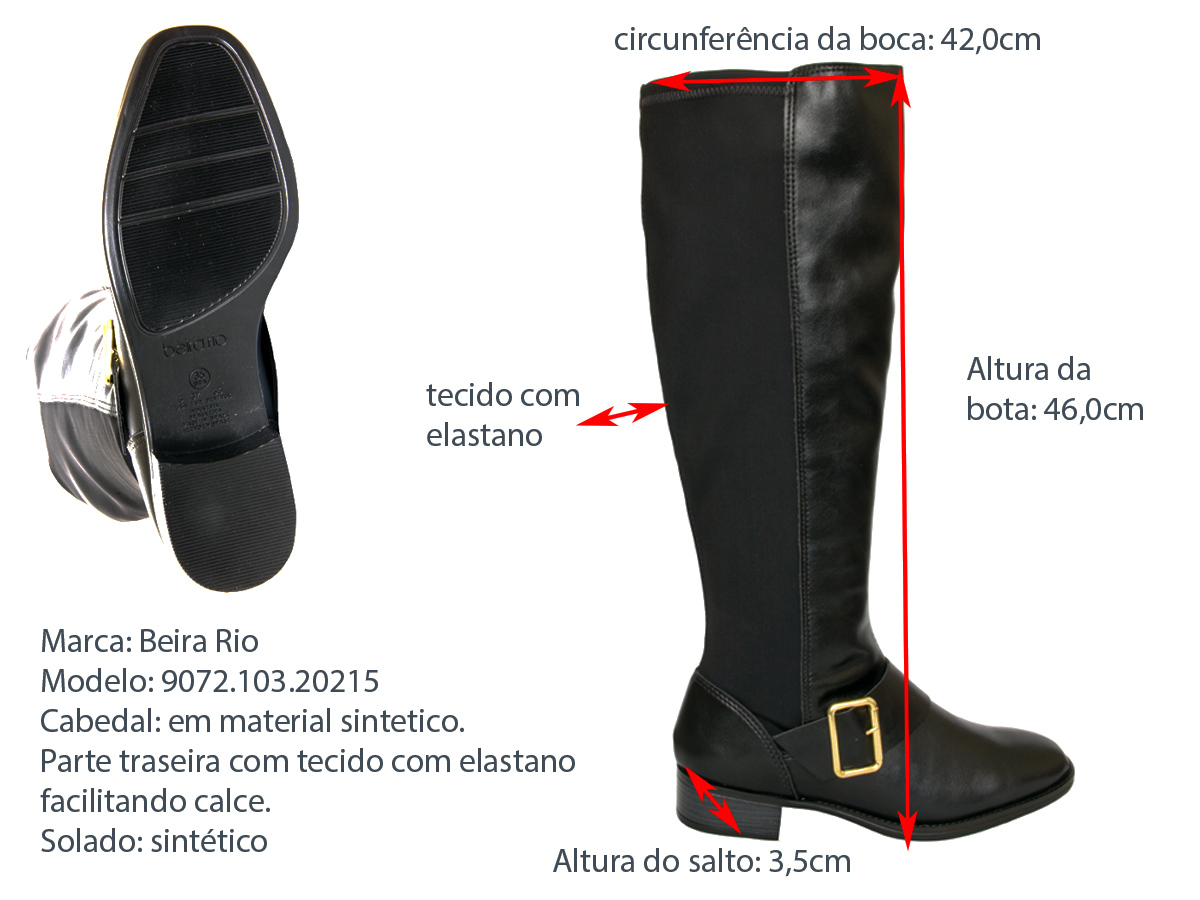 Bota Montaria Beira Rio 9072.103.20215 napa/lycra Feminino