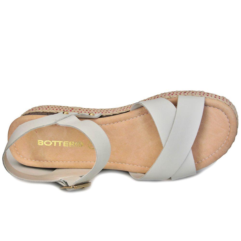 Sandália Bottero Couro Flatform Corda Feminina 293606 - branco