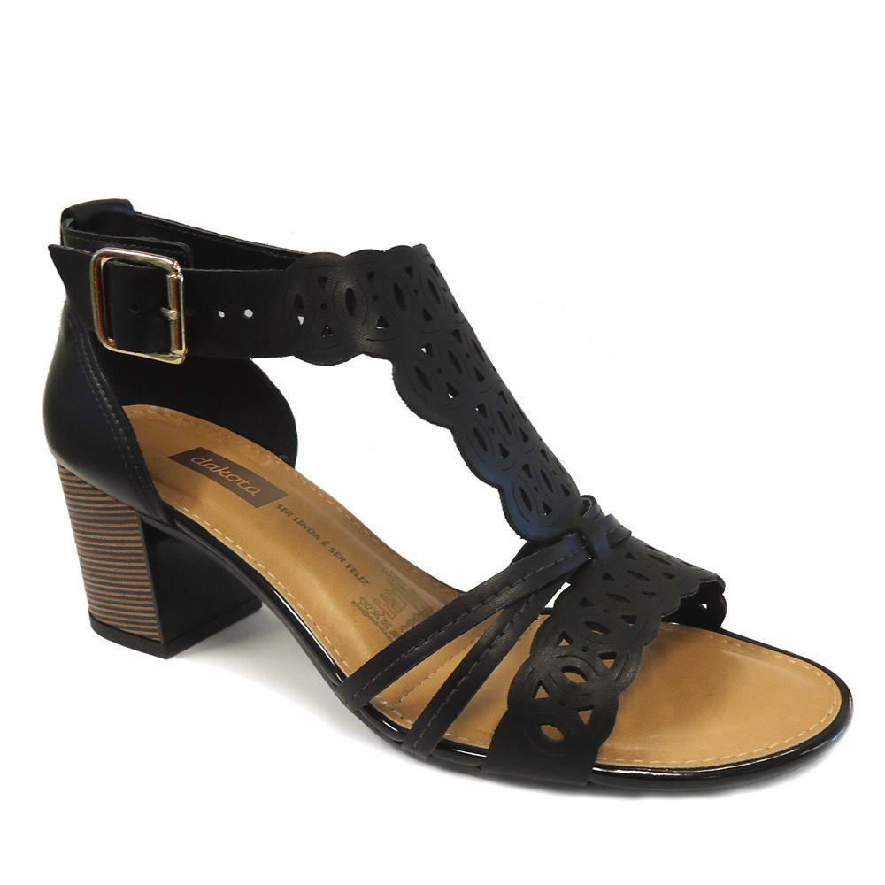 1cf65ef516 Sandália Dakota Salto Bloco Z3474 Feminino com Fivela - preto - Loja Ito
