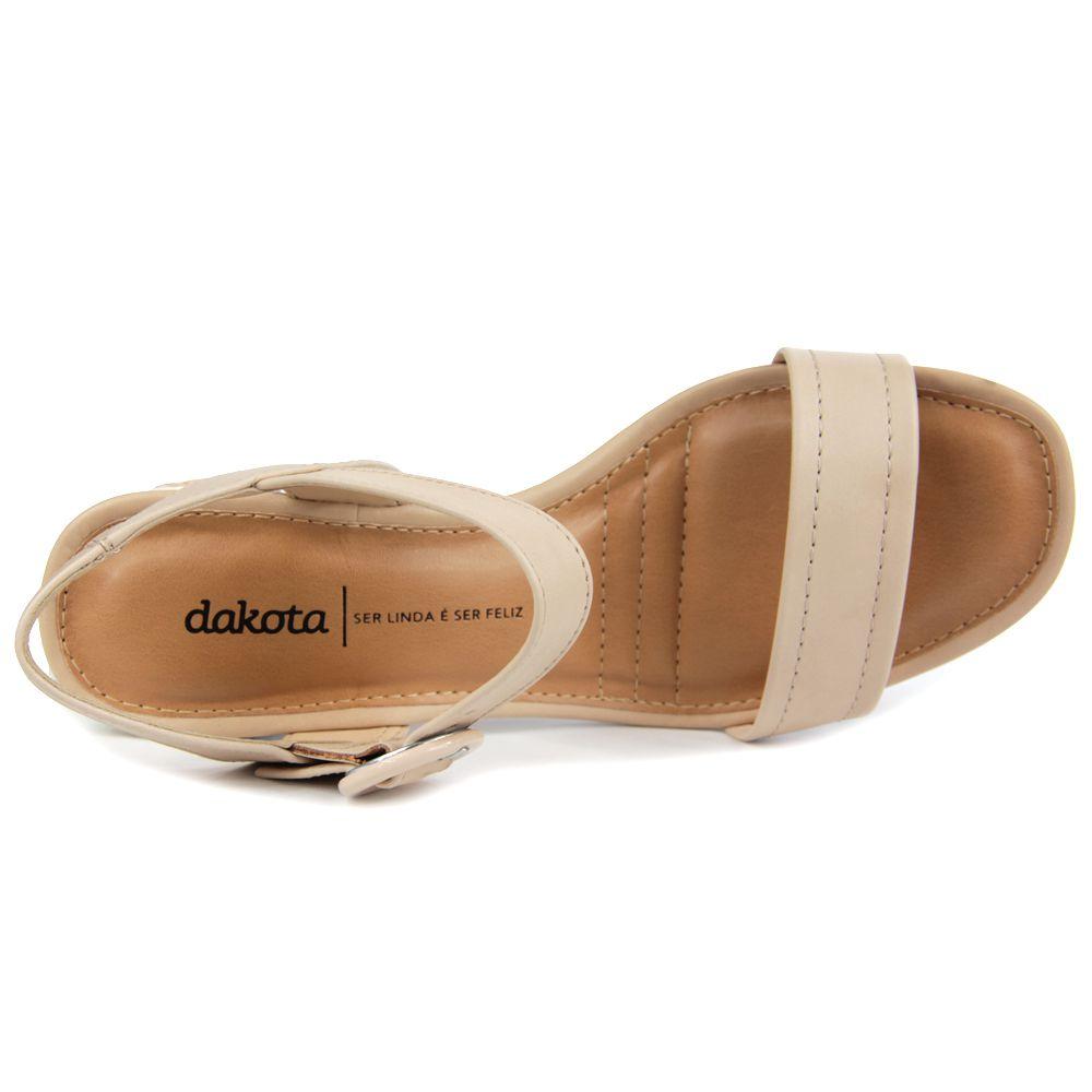 Sandália Dakota Z5412 Salto grosso Feminino - aveia