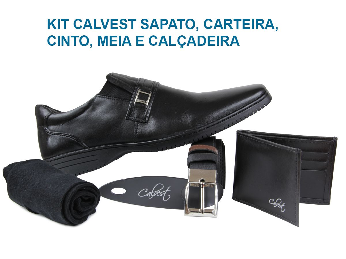 Sapato Calvest CTMC5040D605 KIT carteira/cinto/meia/calçadeira
