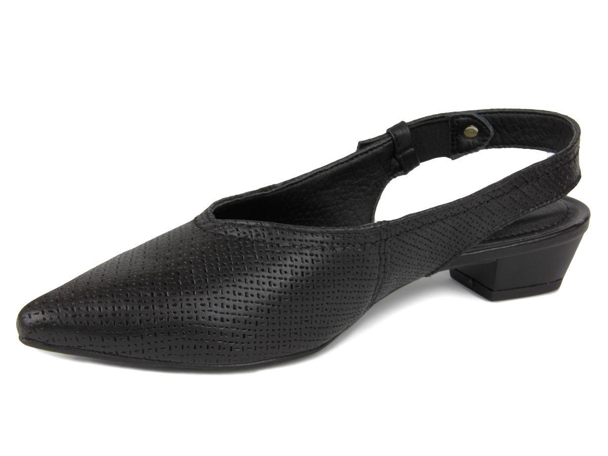 Sapato Mule Bottero Feminino 307501 couro salto baixo - preto