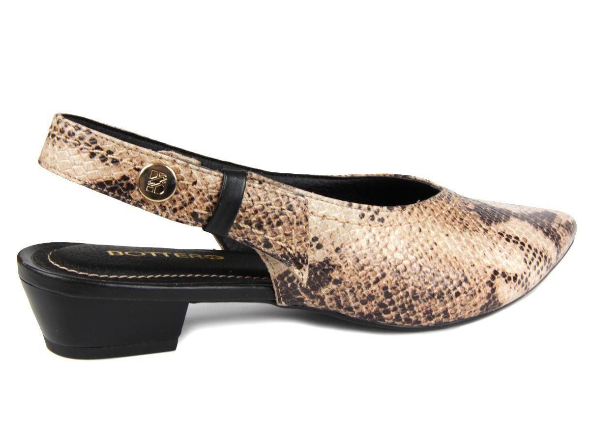 Sapato Mule Bottero Feminino 307501 couro serpente salto baixo
